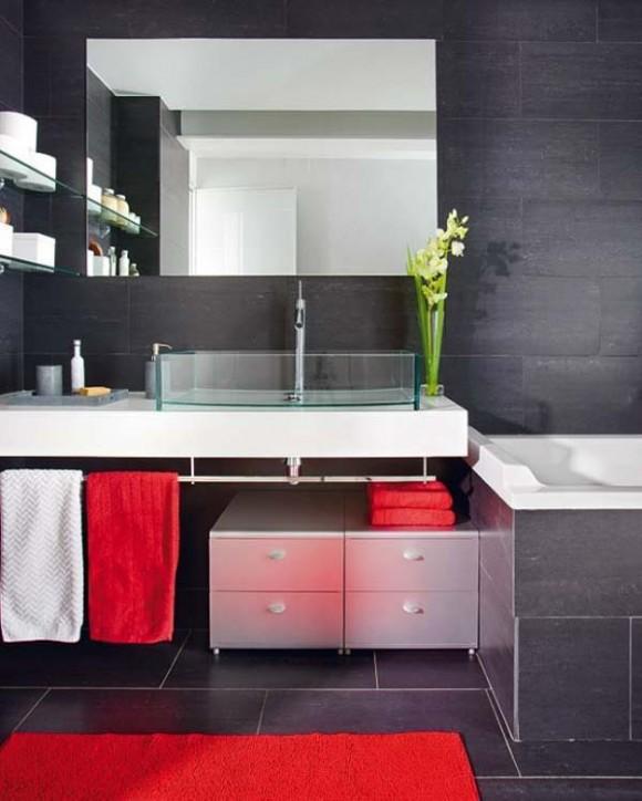 Baño Porcelanato Gris:Idea de Diseño de Baño Negro pero no Oscuro : Baños y Muebles