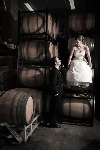 Bride and Groom In Wine Cellar Vintage Style Veramar Vineyard