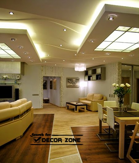 25 original ceiling styles with integrated lighting for Types of ceiling designs