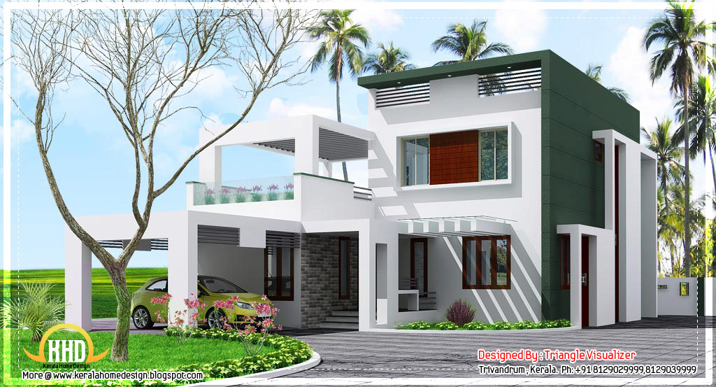 Beautiful contemporary low cost home in kerala 1923 sq for House designs kerala style low cost