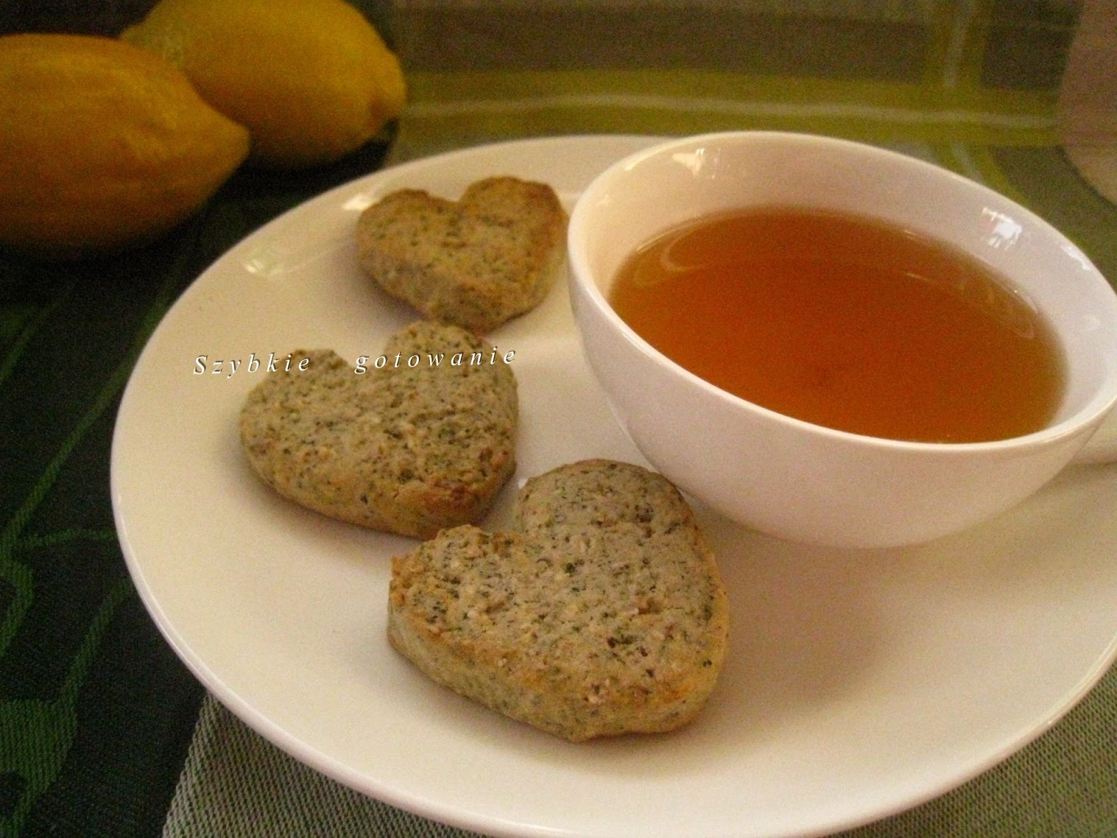 Owsiane ciasteczka z zieloną herbatą i skórką cytryny