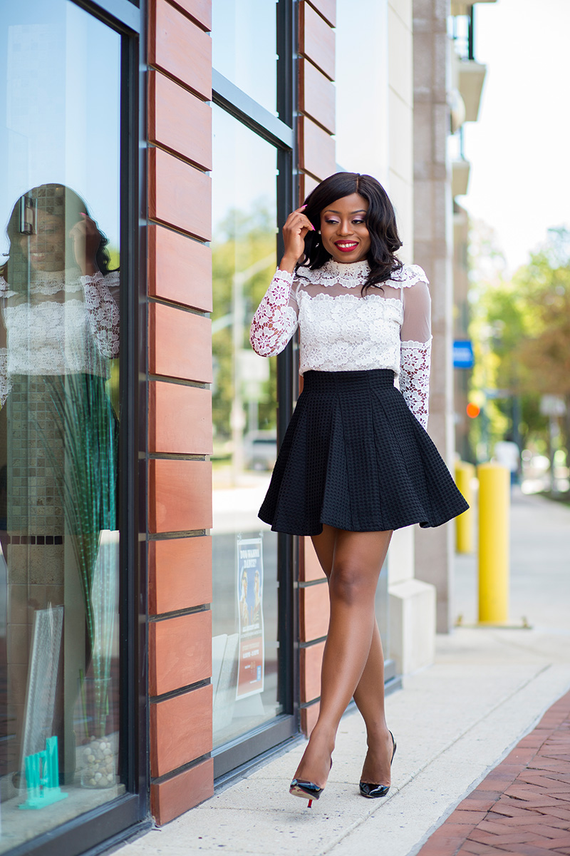 Date night outfit ideas, chicwish skater skirt
