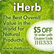 Trykk på bildet og få $5 rabatt på din første bestilling hos iHerb!