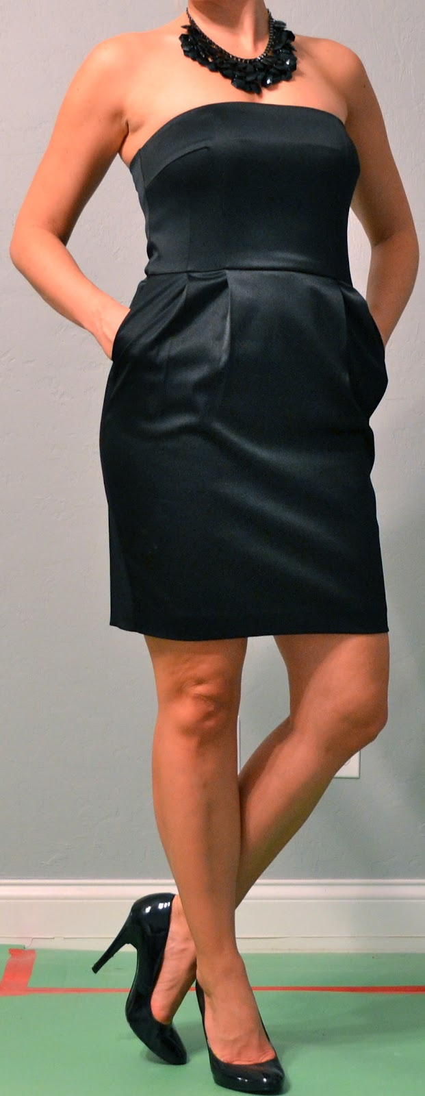 Black Satin Strapless Dress
