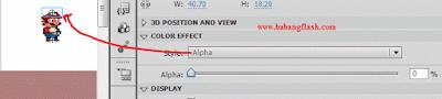 Mungkin anda terganggu dengan warna yang ada dikepala mario, untuk mengatasi ini, anda harus mengklik pada panel properties > color effect > pada kolom style pilih alpha > setting alpha menjadi 0%, seperti pada gambar dibawah ini.