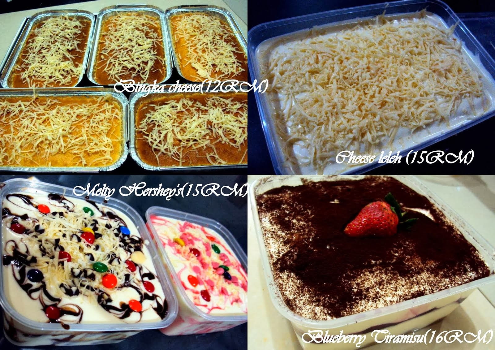 BINGKA CHEESE, CHEESE LELEH, MELTY HERSHEY'S, BLUEBERRY TIRAMISU
