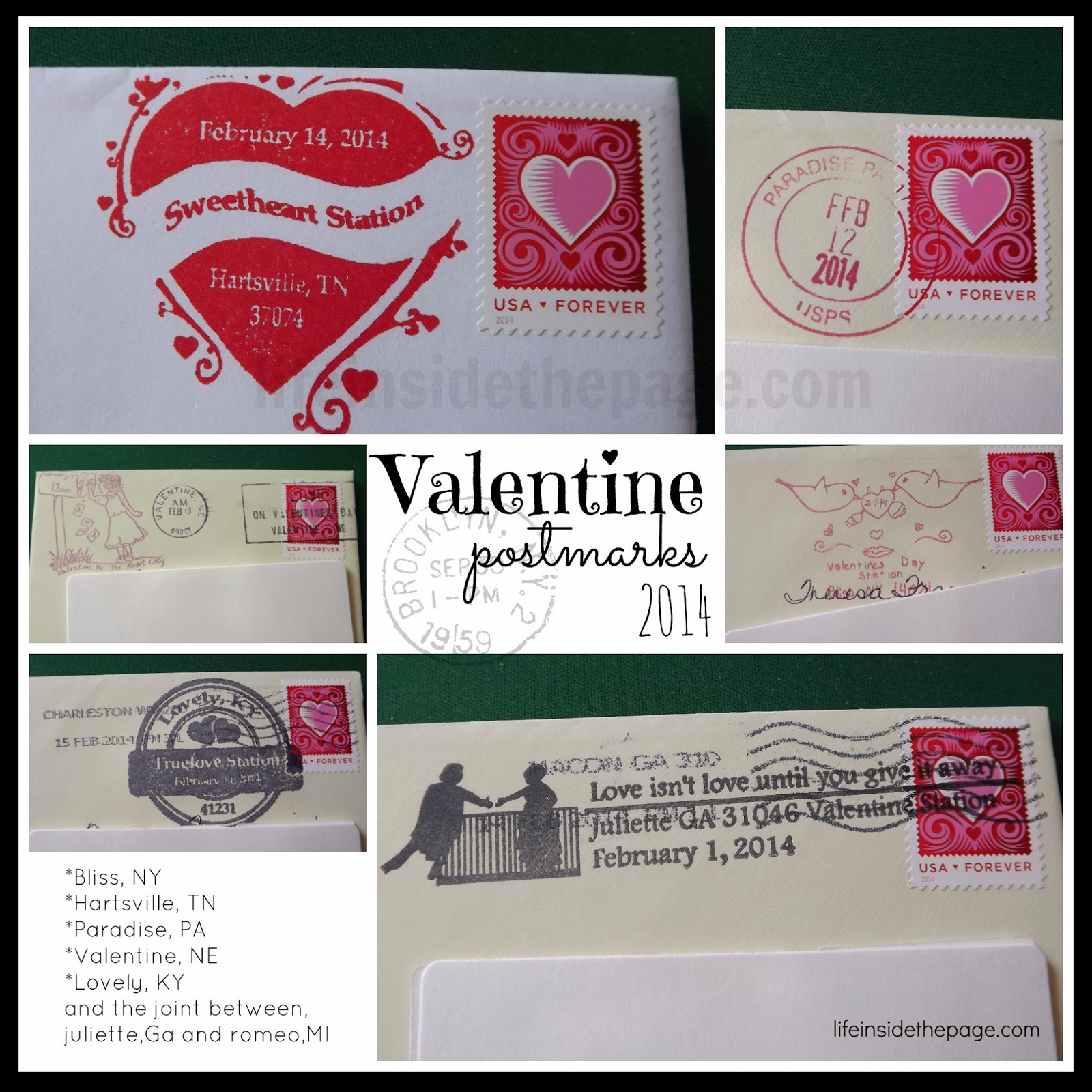 US Postal Service   Valentines Day  Special city cancellations   2014