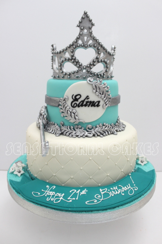 21st Birthday Cake Design For Her : Cakes2Share Singapore: SILVER BLUE 21ST BIRTHDAY TIARA ...
