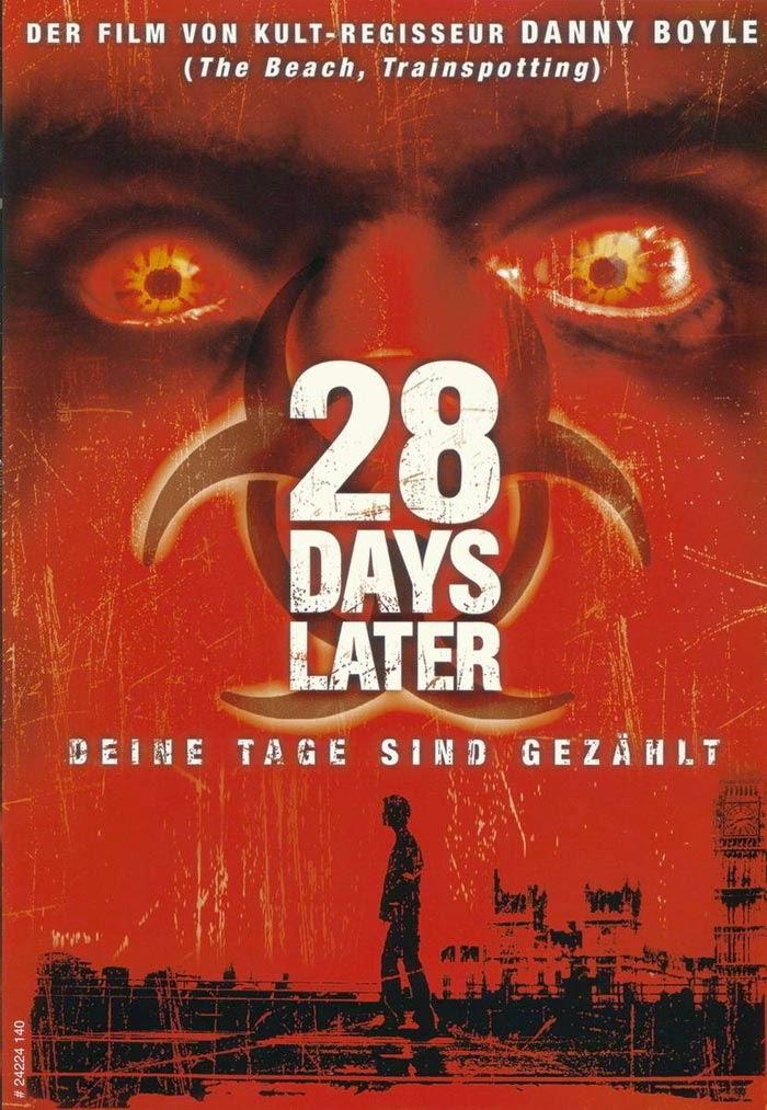 "Cartél de ""28 días depués"" en alemán"