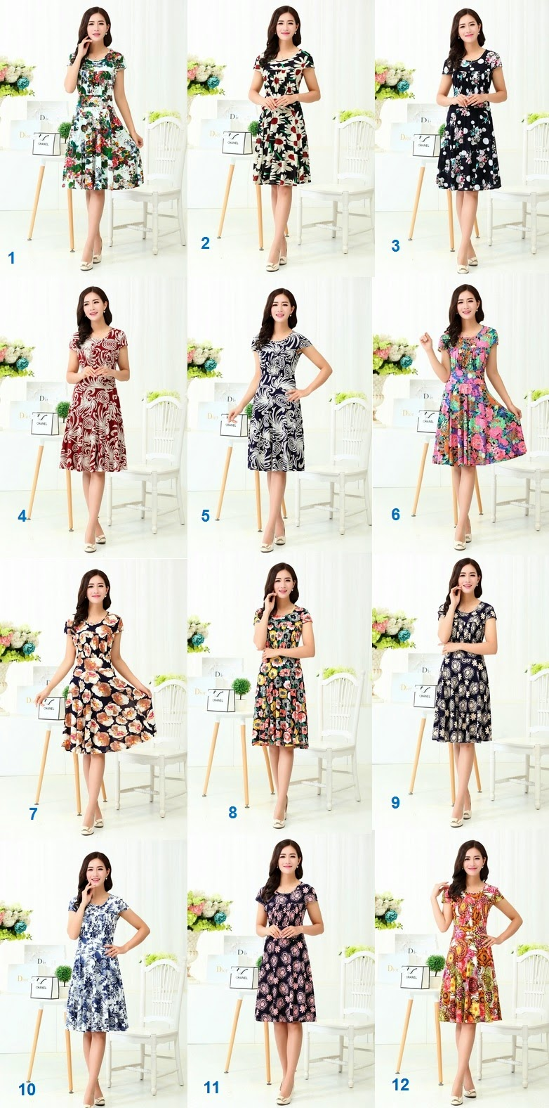 New 2015 Short Sleeve Front Gathered Ice Silk Pass Knee Length Dress