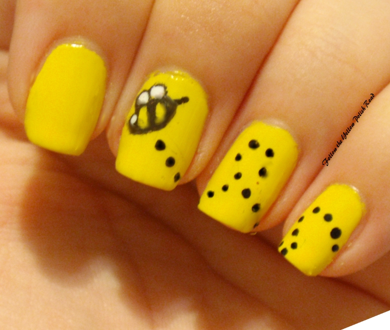 Follow the yellow polish road september 2012 in all honesty i think my nail art skills are about the same but i still love my little bumble bee i started off with two coats of zoya pippa as my prinsesfo Choice Image