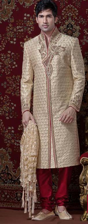 Beige & Red Banarsi Cotton Silk Sherwani With Churidar