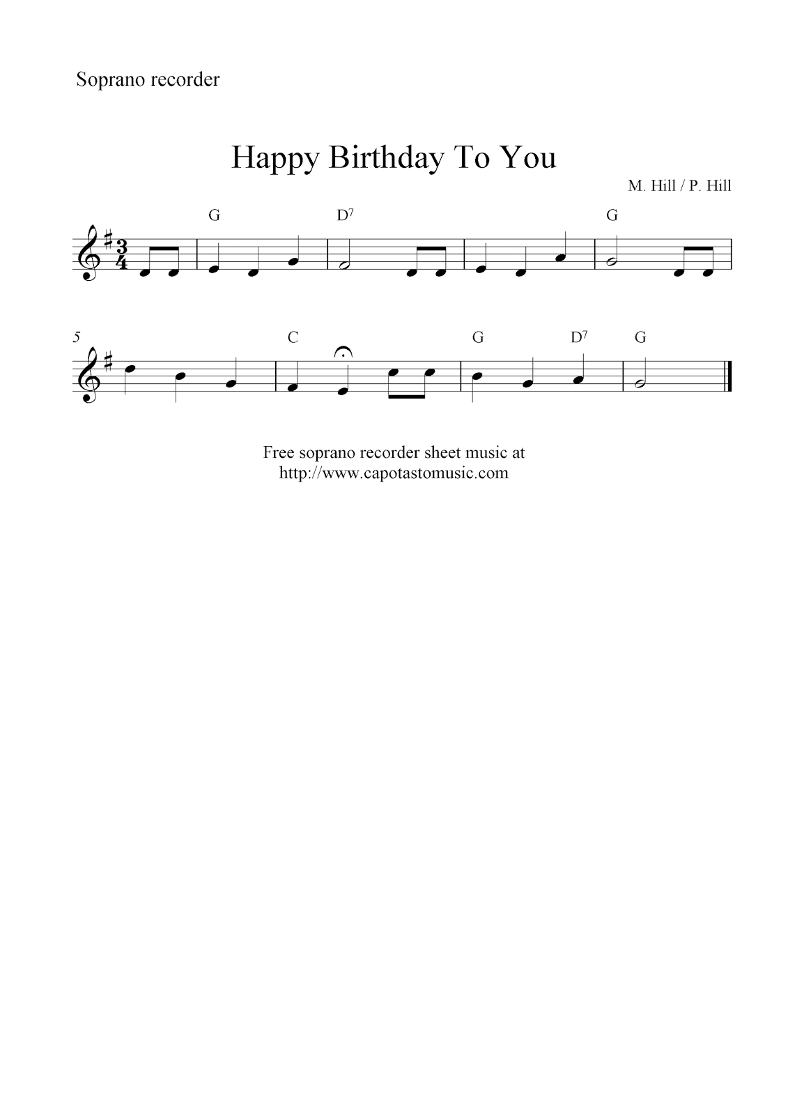 Happy Birthday To You, free soprano recorder sheet music notes