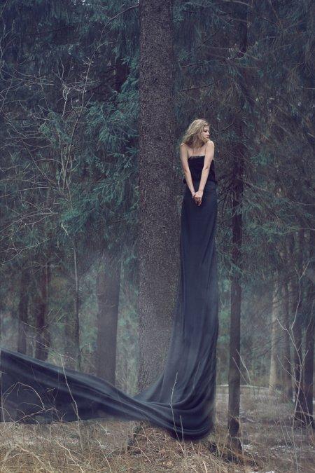 katerina plotnikova fotografia surreal mulheres natureza país das maravilhas Vestido preto