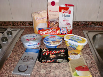 ingredientes para tarta de queso chocolatinas mars