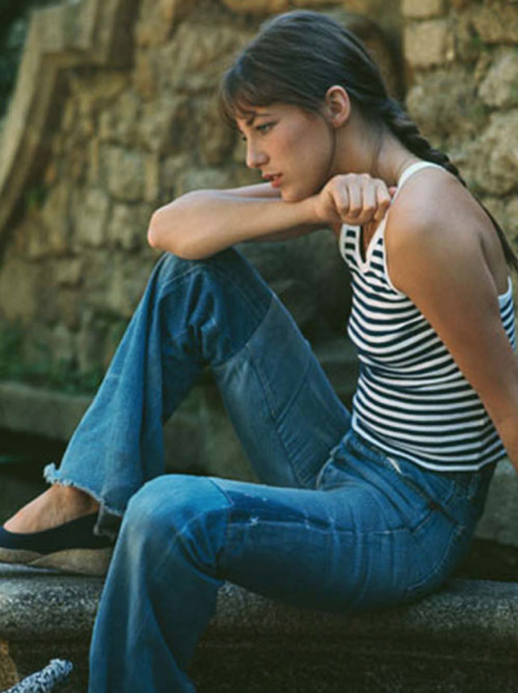 Jane Birkin, 60s icon, striped tank, flared patchwork denim, muse