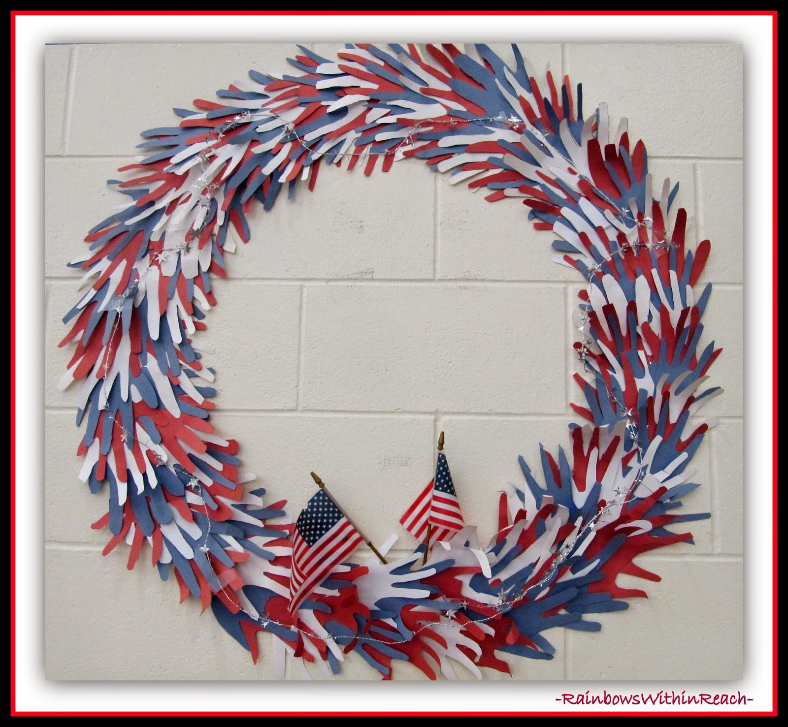 "Patriotic Wreath made from Cut Hand Tracings at RainbowsWithinReach ""HAND"" RoundUP"