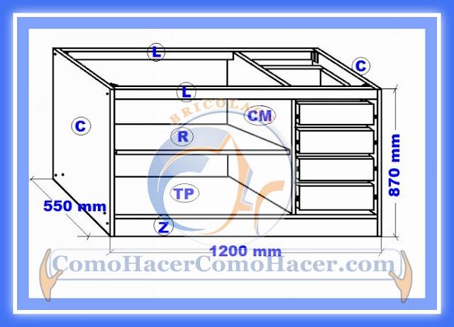 Muebles cocina plano mueble bajo web del bricolaje for Planos de bajo mesada de melamina