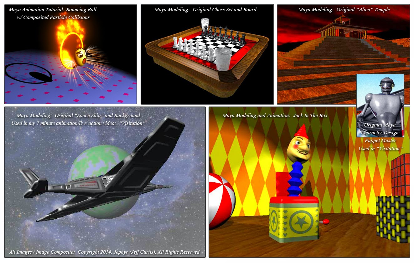 Various 2005 Maya Projects:  Copyright 2014, Jephyr
