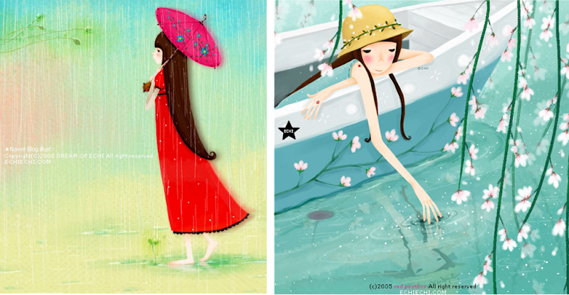 ilustraciones de la artista coreana Echi