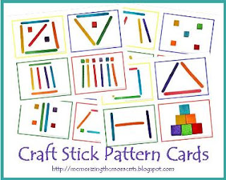 Free Printable Craft Stick Pattern Cards for Visual Discrimination Practice
