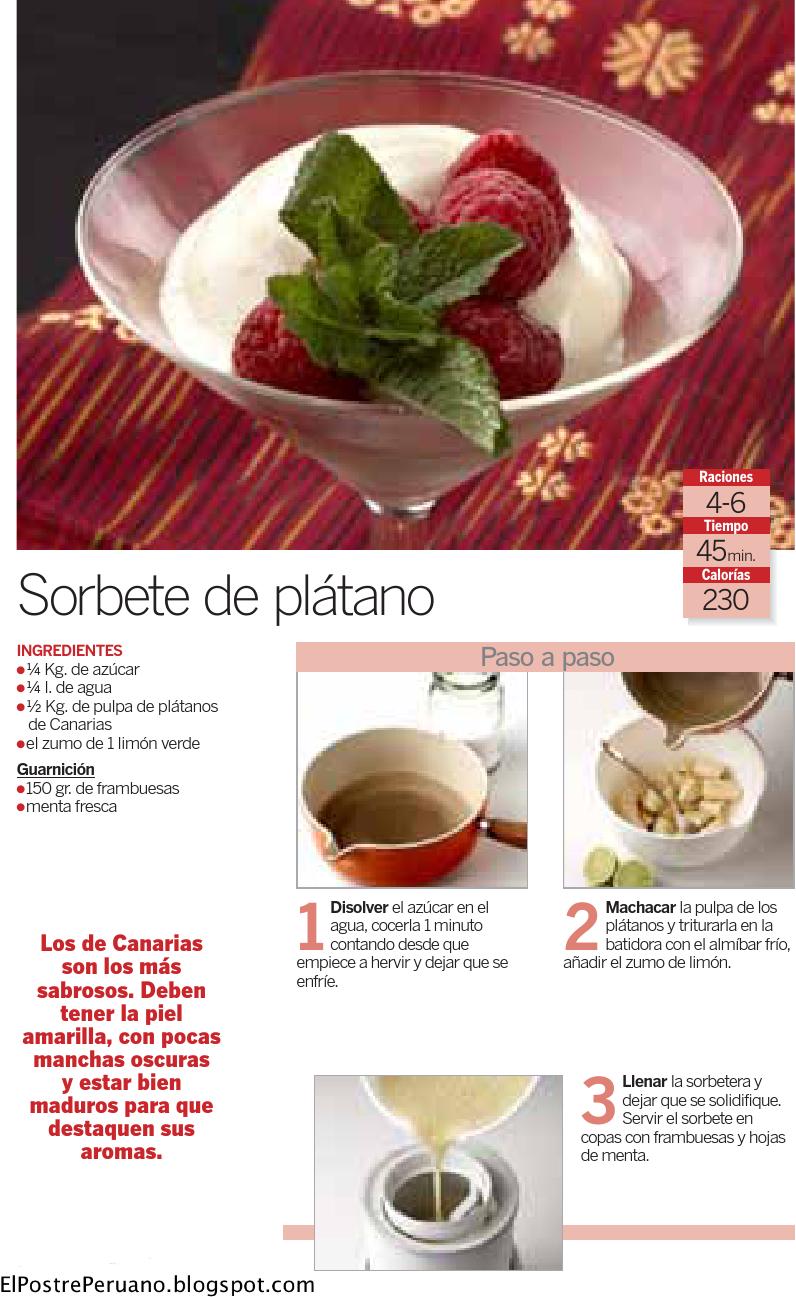 Recipes - Receta sencilla - SORBETE DE PLATANO - Reposteria