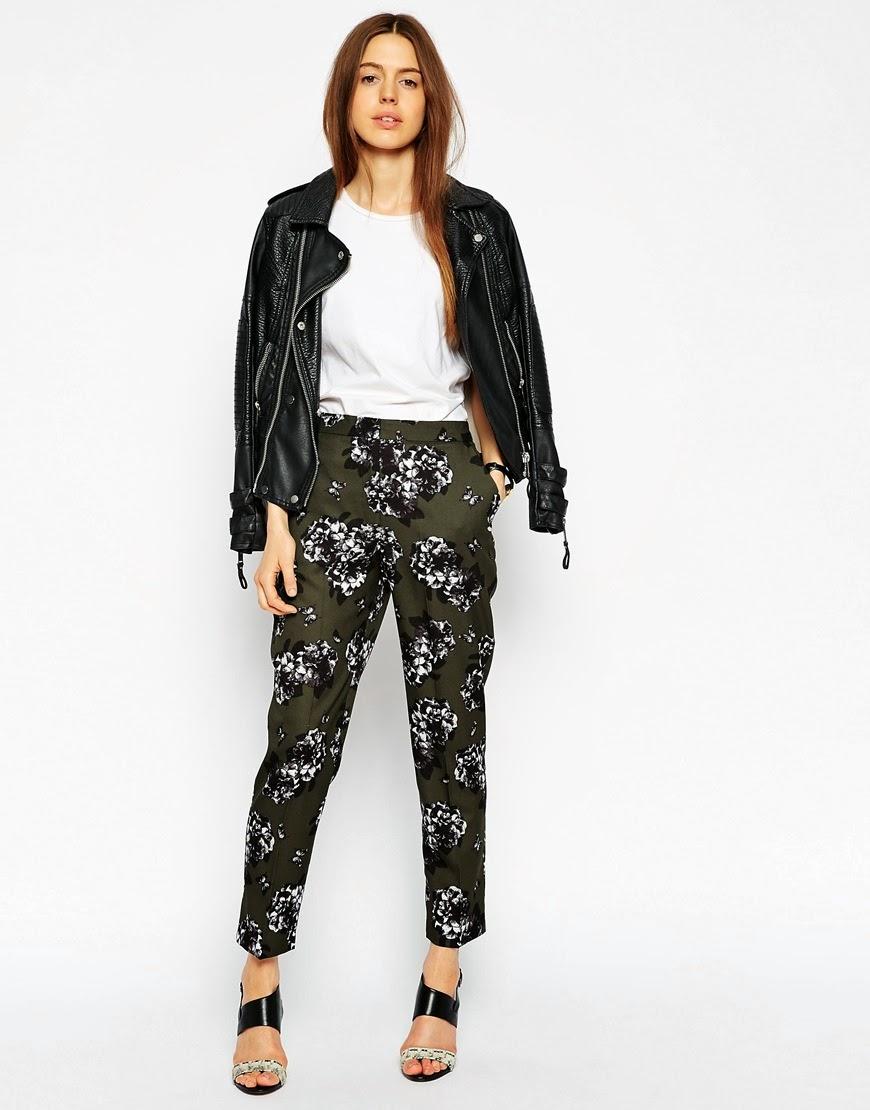 khaki flower trousers
