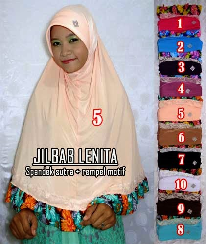 Jilbab bergo rempel spandek sutera polos kombinasi motif