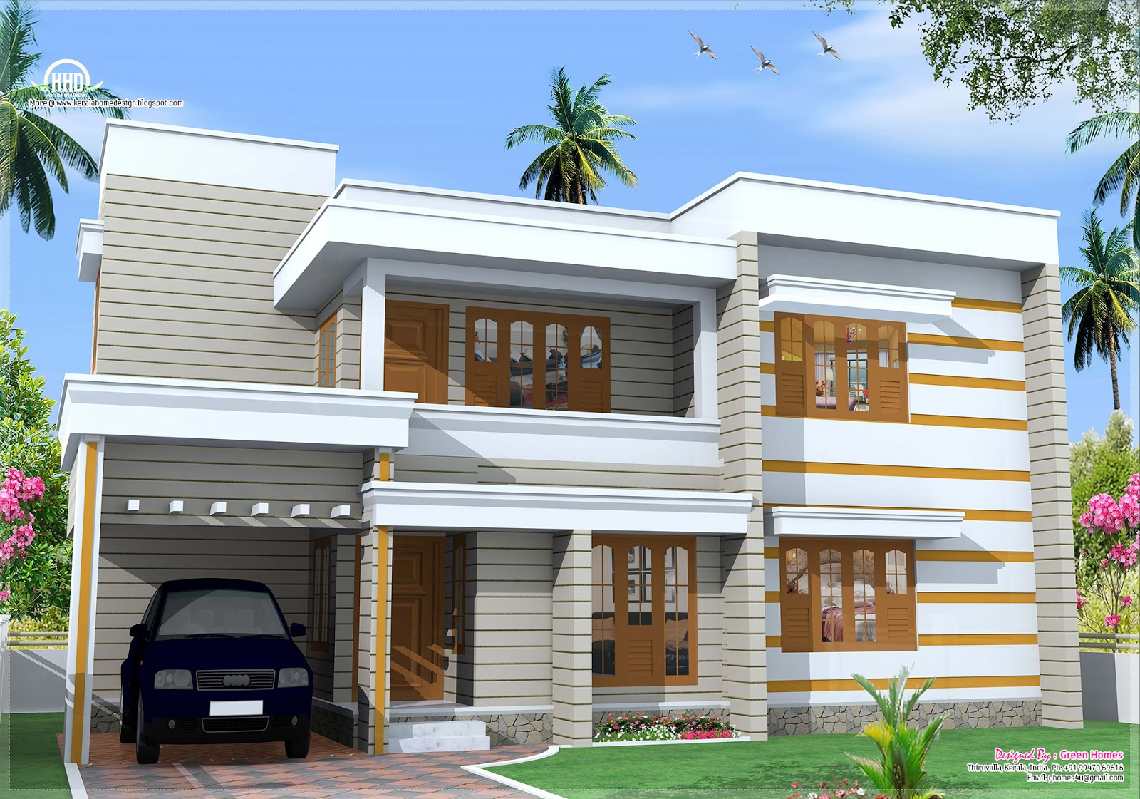 Flat roof house exterior in 1850 kerala home House plan flat roof design