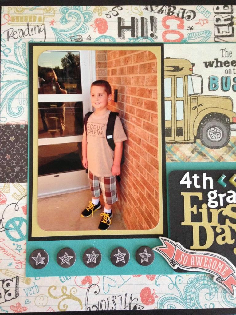 Cricut Artbooking First Day of 4th grade scrapbook layout close up