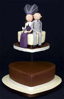Two Tier Funny Heart Wedding Cakes