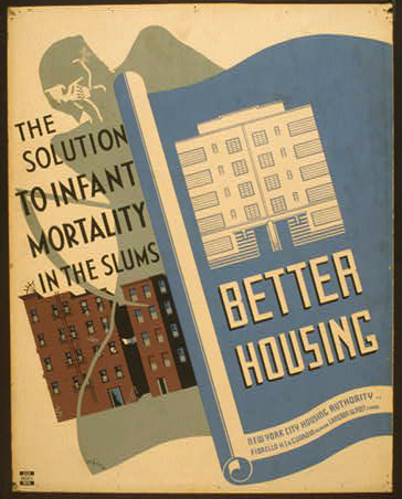 wpa, federal art project, public health, public safety, public service announcement, united states, government, The Solution to Infant Mortality in the Slums, Better Housing - Vintage Public Housing Poster