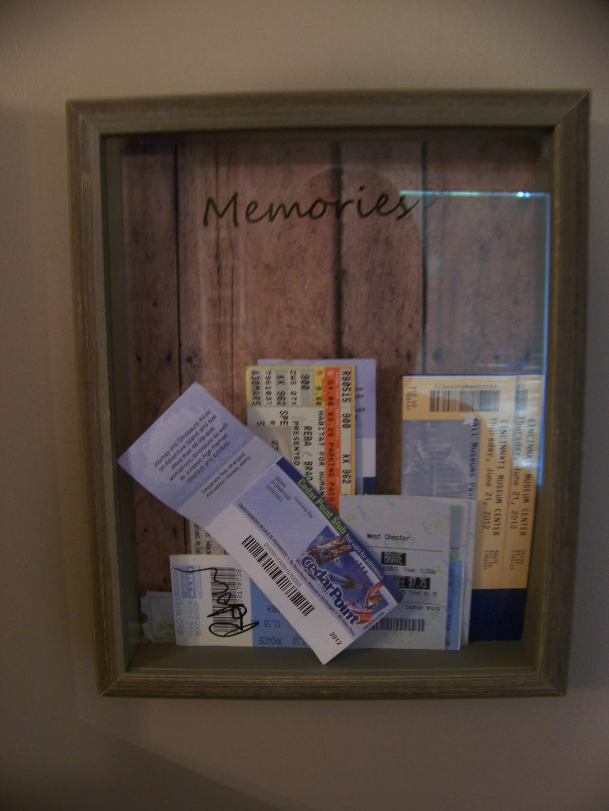 making cooley stuff ticket stub memory box