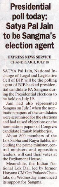 Presidential poll today; Satya Pal Jain to be Sangma's election agent