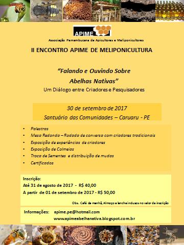 II Encontro APIME de Meliponicultura - 30 de Setembro de 2017