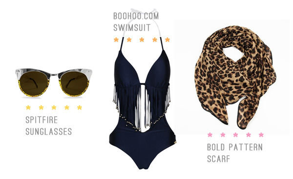 fringe one piece - leopard scarf - spitfire sunglasses