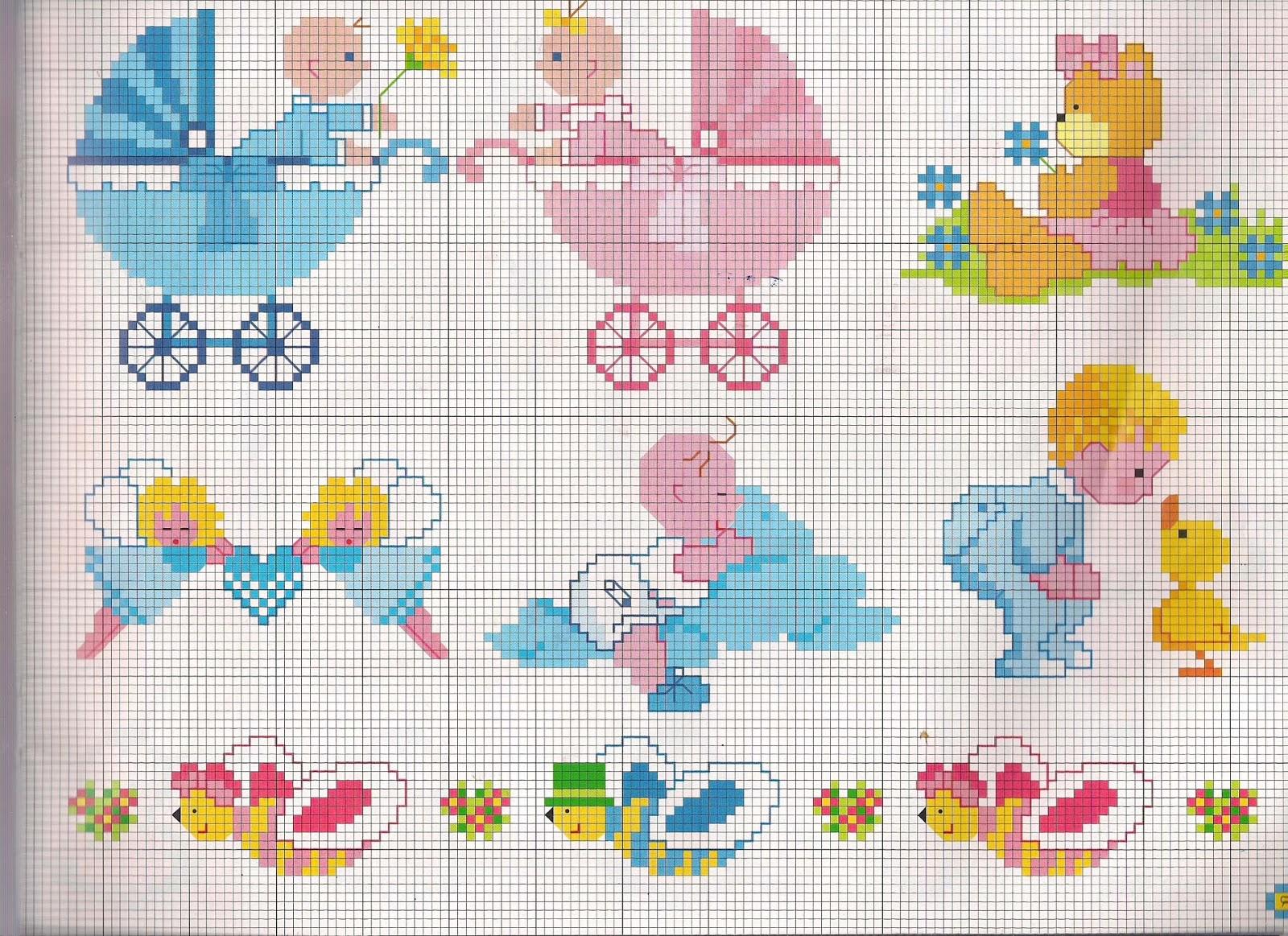 disegni a punto croce per lenzuolini orsetti per