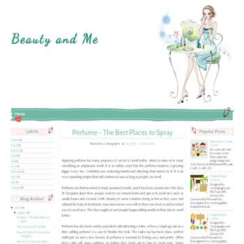 Beauty and Me blogger template for personal blog template with cute background.