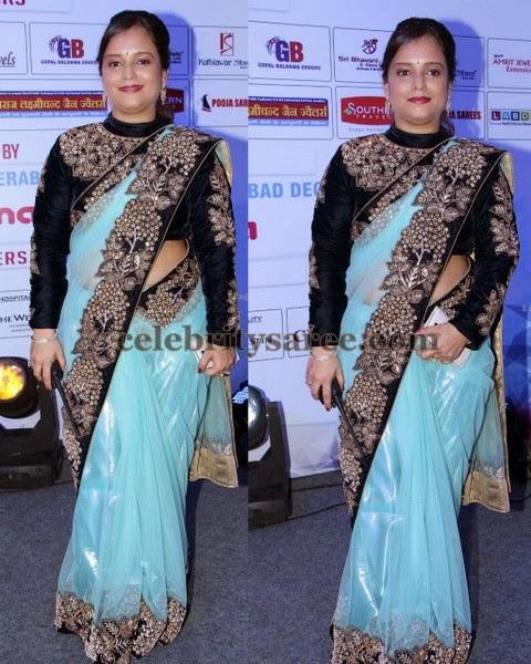 Crystal Work Velvet Shimmer Sari
