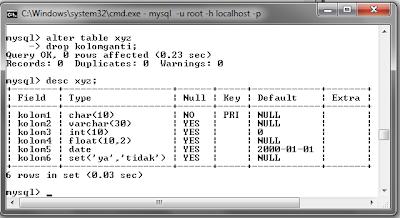 124 MySQL dengan menggunakan Command Prompt (CMD)