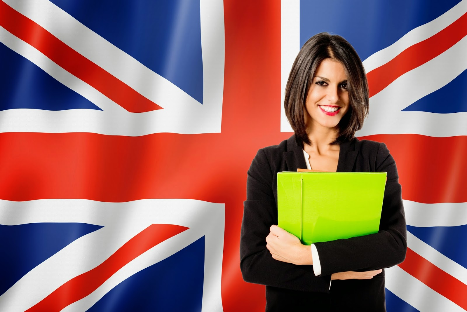 Pic of woman with folder in front of Union Jack flag
