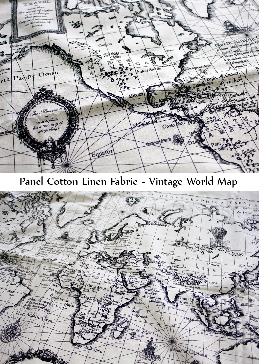Inagakis shop vintage world map panel cotton linen fabric to purchase please click here for the product link to my etsy shop gumiabroncs Gallery