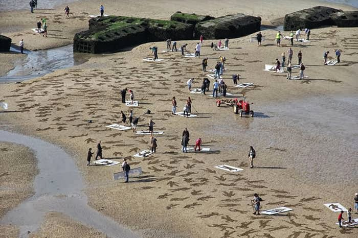 The Fallen — 9,000 Sand Drawings Commemorate the Fallen on D-Day