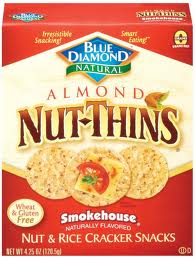 Red box, Blue Diamond brand, Almond Nut Thins. Smokehouse flavor, nut and rice cracker snacks.