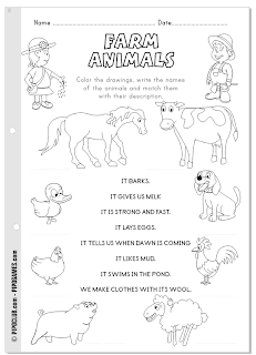 Farm animals - coloring, reading and writing activity by @evapipo