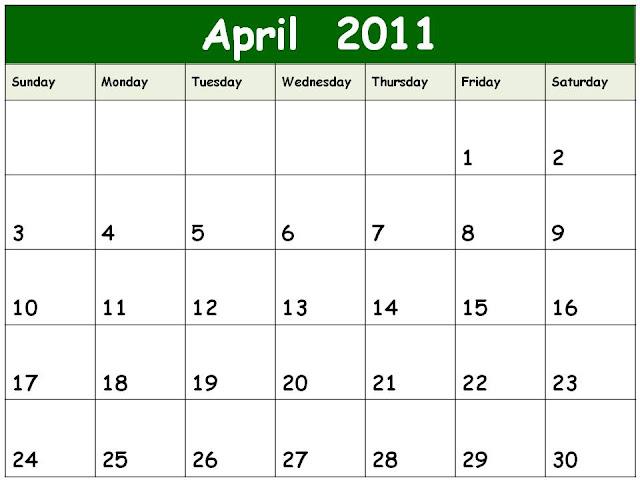free april 2011 calendar template. blank calendar 2011 template.