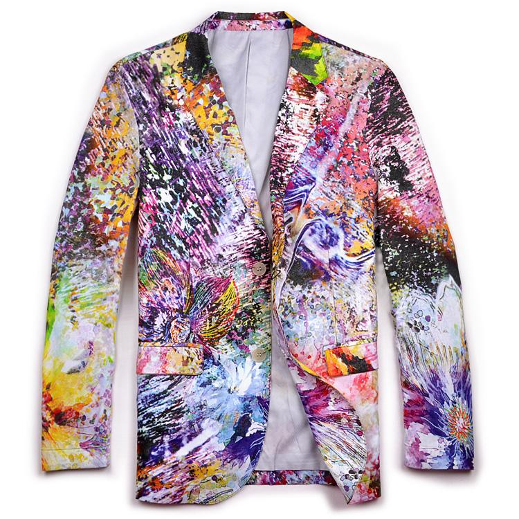 creative multicolor cool graphic printed mens blazer