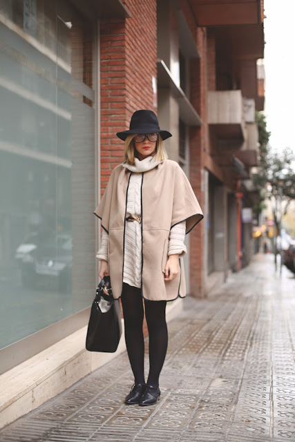 Lordes Boutique, Black and Gold, Shoes, Fedora, Glasses, nerd, red lips, winter outfit, beige, cape