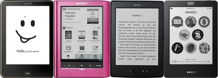 Ebook Reader Tolino, Sony, Kindle, Kobo