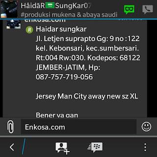 Detail pesanan dan alamat lengkap Haidar sungkar